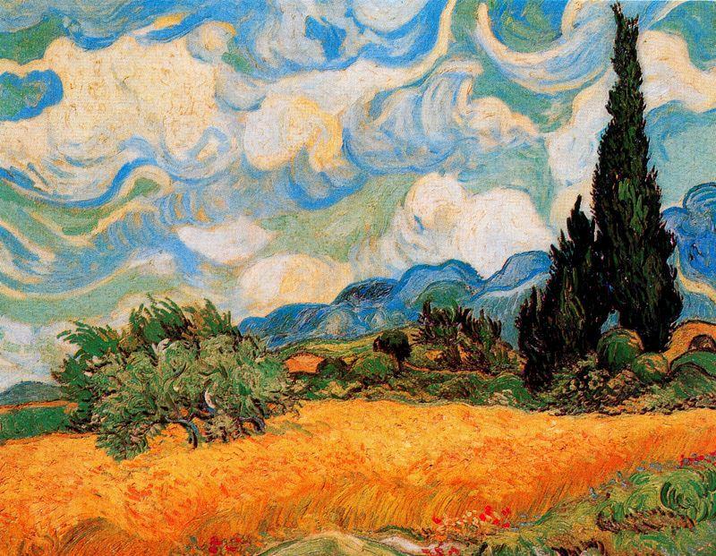 Campo de trigo con cipreses Van Gogh 1889