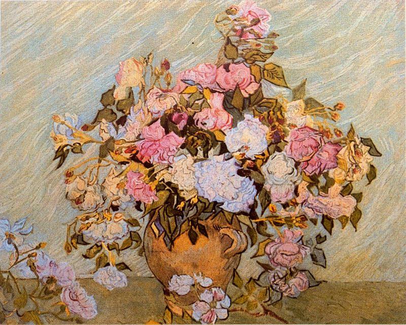 Jarron con rosas Van Gogh 1890