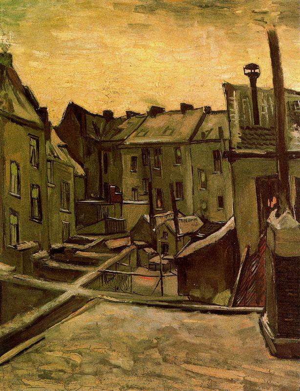 Patios traseros en Amberes con nieve Van Gogh1885
