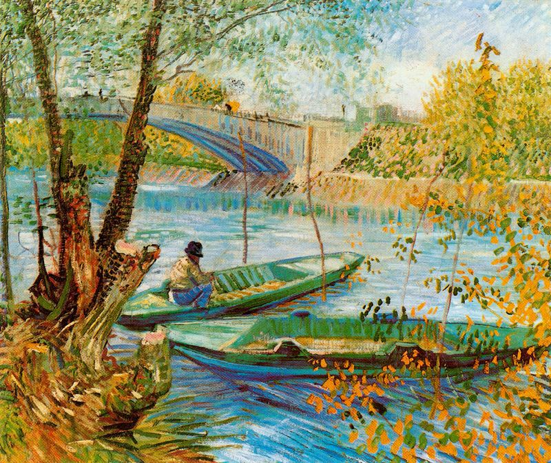 Pescador y barcas junto al Puente de Clichy Van Gogh 1887