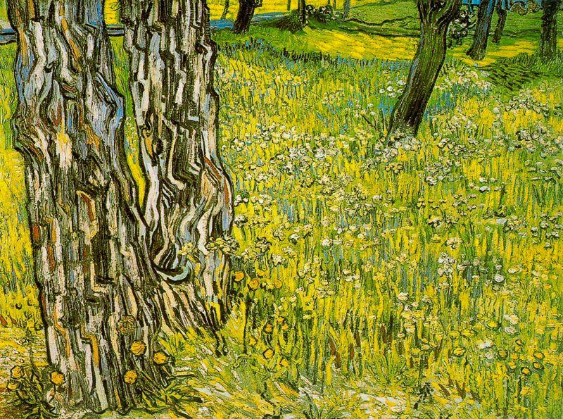 Prado en flor con troncos y diente de leon Van Gogh 1890