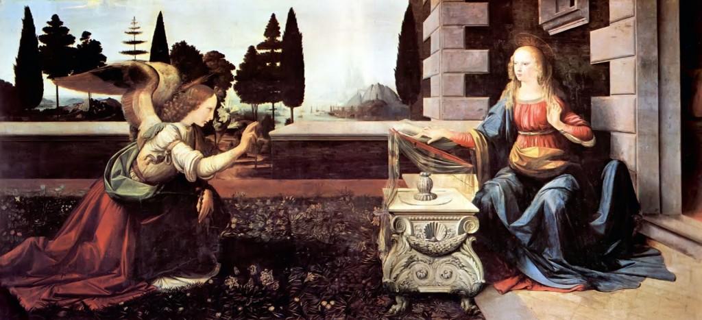 La Anunciacion Leonardo Da vinci renacimiento