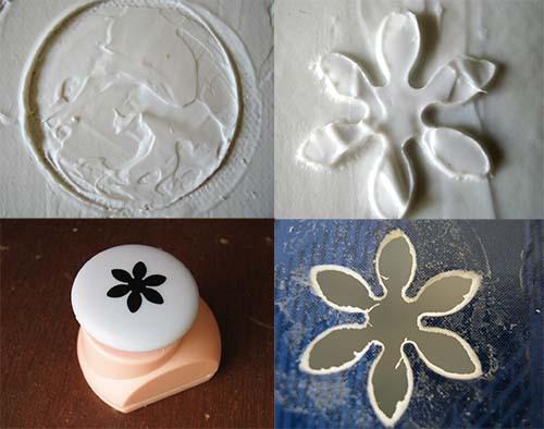 relieve planeta y florecitas en pasta para modelar
