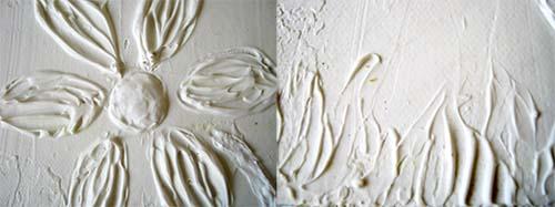 textura flor y pasto cuadro infantil con pasta para modelar