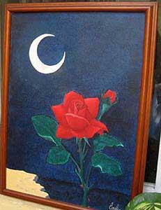cuadro oleo sobre carton luna y rosa