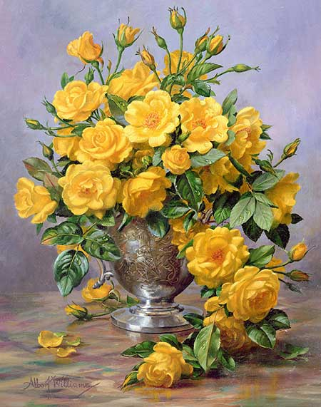bright-smile--roses-in-a-silver-vase-por-albert-williams-