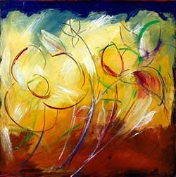 C mo pintar flores paso a paso artistas que pintan for Imagenes de cuadros abstractos faciles