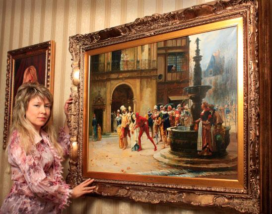 Olga Rybakova y su copia de Masquerade XVII Century by Adrien Moreau