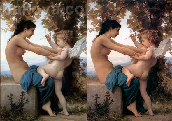 Young-Girl-Defending-Herself-Against-Cupid-copy-ribakova-original-Bouguereau copia de rybakova comparada con original de bouguereau