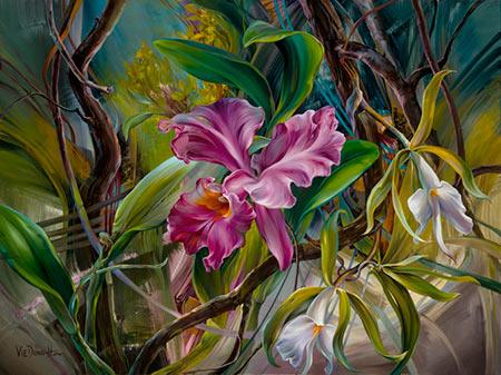 Orquídea pintura de flor Vie Dunn Harr