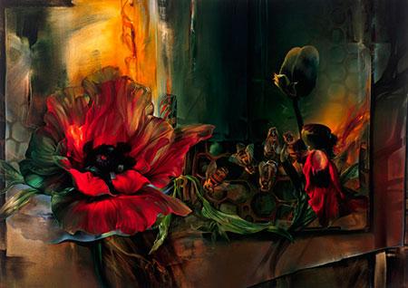 pintura de flores amapolas Vie Dunn Harr