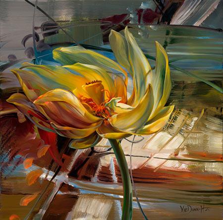 Pintura de flores sobre fondo abstracto Vie Dunn Harr
