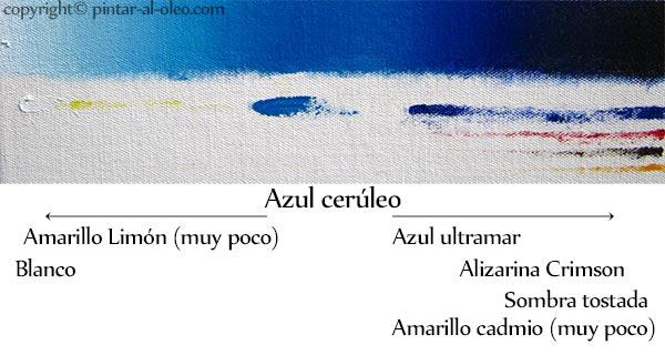 Transición aclarar y oscurecer azul cerúleo con colores adyacentes