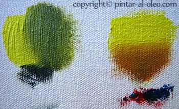 formas de oscurecer el color amarillo, verde oliva y café