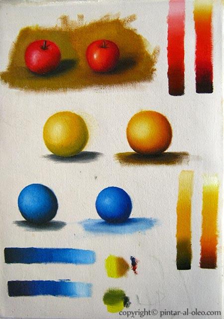 Ejercicios esferas aclarando y oscureciendo colores con pinturas