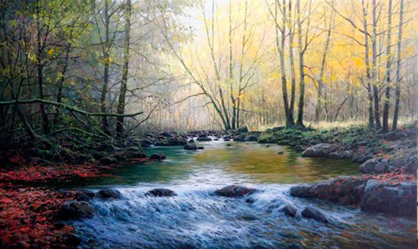 Pintura al oleo rio en movimiento pincel y espatual