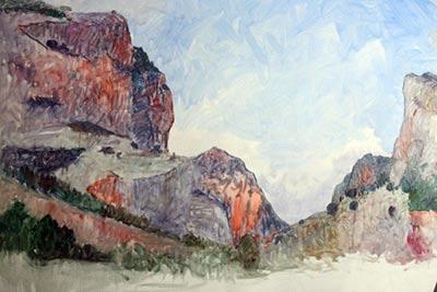manchado inicial pintura al oleo paisaje