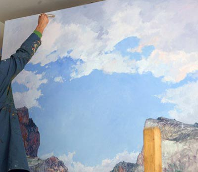 pintura cielo nubes paisaje al oleo