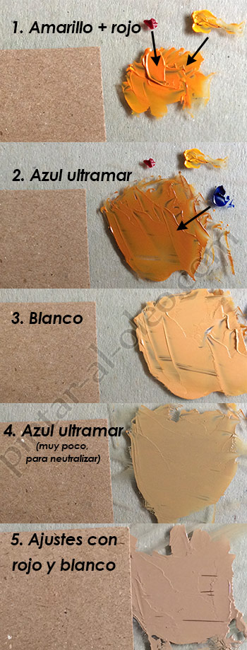 C mo hacer color caf o marr n con pintura pintar al leo for Pintura beige claro