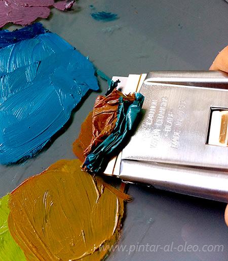 Limpiar pintura seca de paleta de mezclas