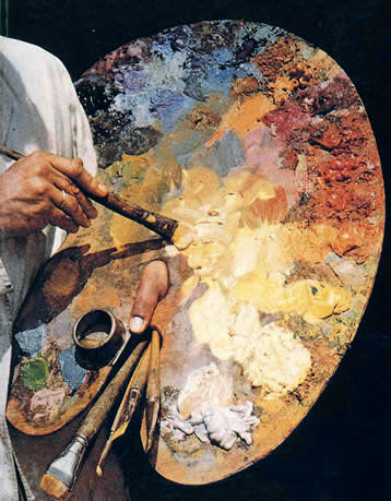 Paleta clasica de madera pintar al oleo